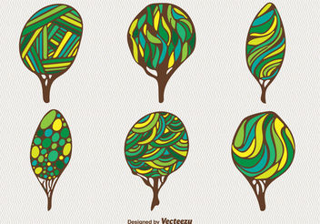 Cartoon green trees - Free vector #199359