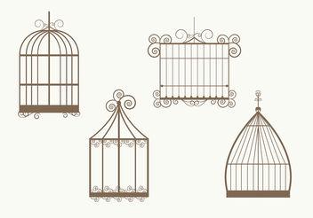 Vintage Bird Cage Vectors - Free vector #199479