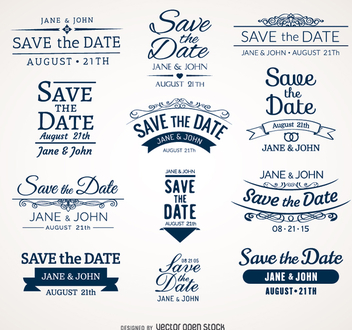 Wedding Save the date badges - Free vector #199719