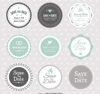 Save the date Wedding Badges - бесплатный vector #200039