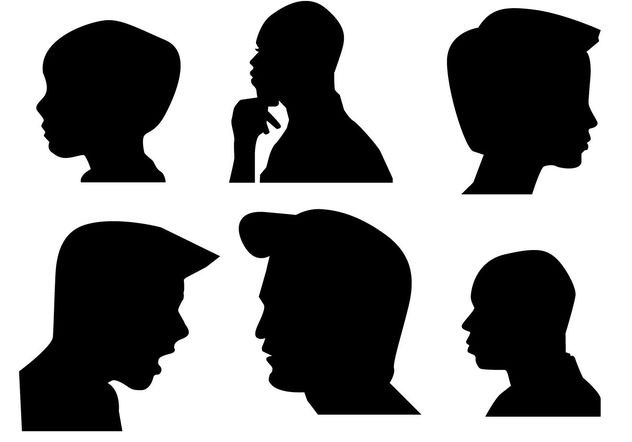 Boys Side Face silhouette - бесплатный vector #200289