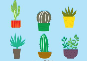 Cactus In A Pot Vectors - Free vector #200419