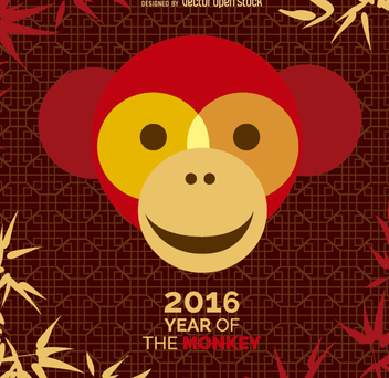 Year of the Monkey 2016 design - vector gratuit #200519