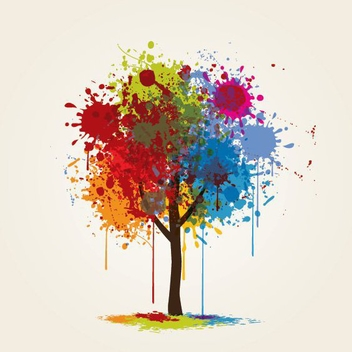 Colorful Paint Splashed Tree - vector gratuit #200969