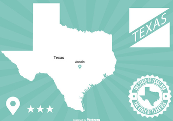 Texas Map Illustration - Free vector #201219