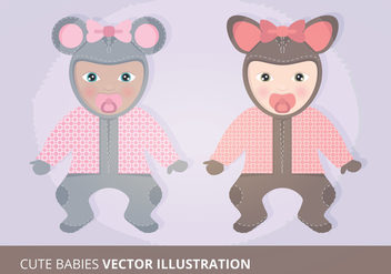 Cute Babies Vector Illustration - Free vector #201239