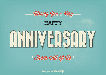 Retro Typographic Happy Anniversary Illustration - Free vector #201369