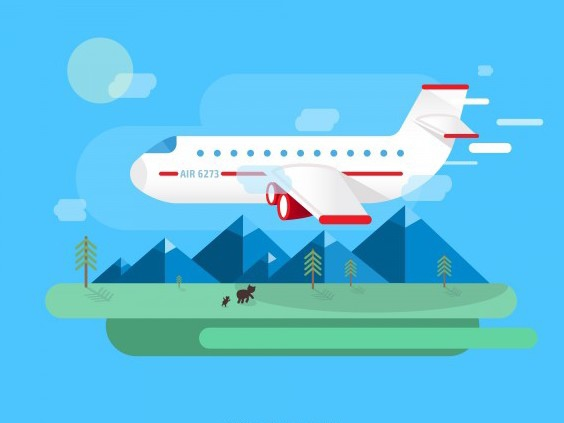Flat Airplane Vector Landscape - Kostenloses vector #202049