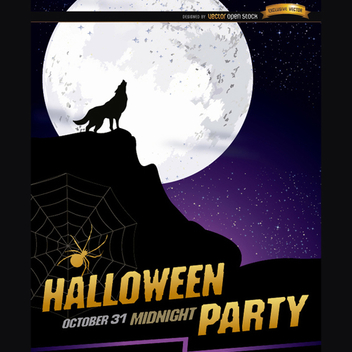 Wolf Halloween Vector Poster - Free vector #202199
