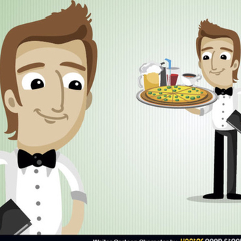 Free Vector Waiter Cartoon Character - Free vector #202239