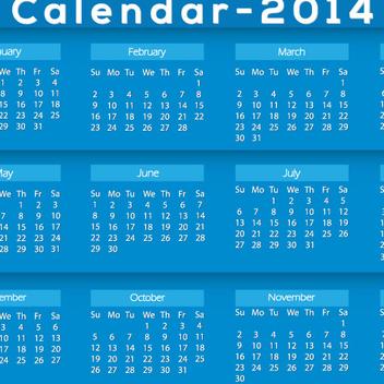 Blue Calendar 2014 Vector - Kostenloses vector #202529