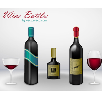 Free Vector Wine Bottle Pack - Free vector #202639