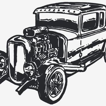 Free Vector Vintage Car Hot Rod - Kostenloses vector #202679