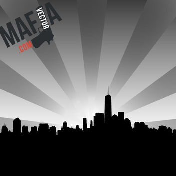 New York Skyline Free Vector - vector gratuit #202719