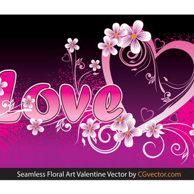 Seamless Floral Art Valentine Vector - Free vector #202859