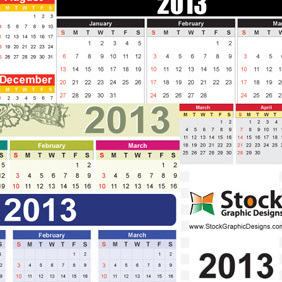 2013 Free Vector Calendar - Kostenloses vector #203059