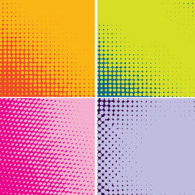 Four Backgrounds Halftone Color - Free vector #203329