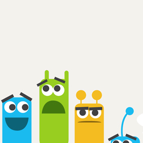 Free Vector Of The Day #149: Cute Colorful Monsters - Kostenloses vector #203479