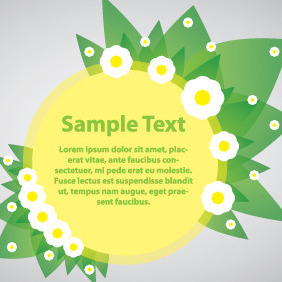 Green Banner With Flowers - vector gratuit #204019
