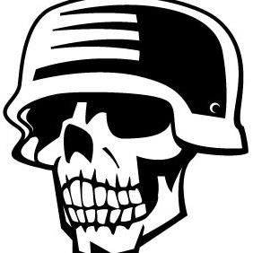 Skull And WW II Helmet Vector - vector gratuit(e) #204089