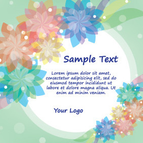 Green Card With Colorful Flowers - Kostenloses vector #204309