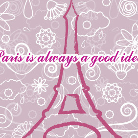 Eiffel Tower In Paris Post Card Vector - Free vector #204819
