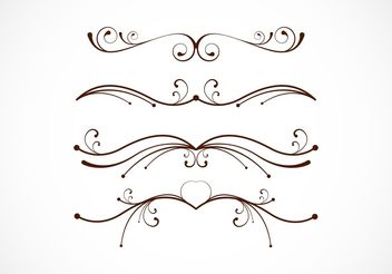 Fancy Floral Line Vectors - Free vector #205109