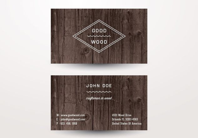 Wooden Business Card - Free vector #205209