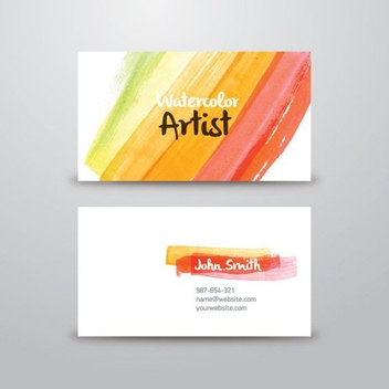 Watercolor Artist Business Card - vector gratuit #205469