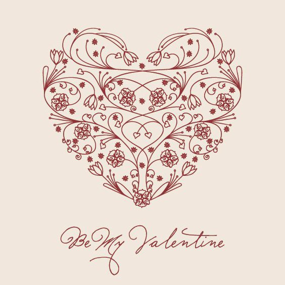 Floral Valentine Heart - Free vector #205909