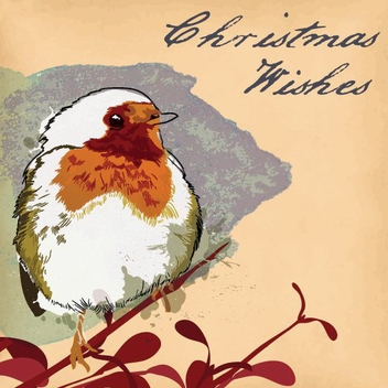Christmas Robin Card - Free vector #205959
