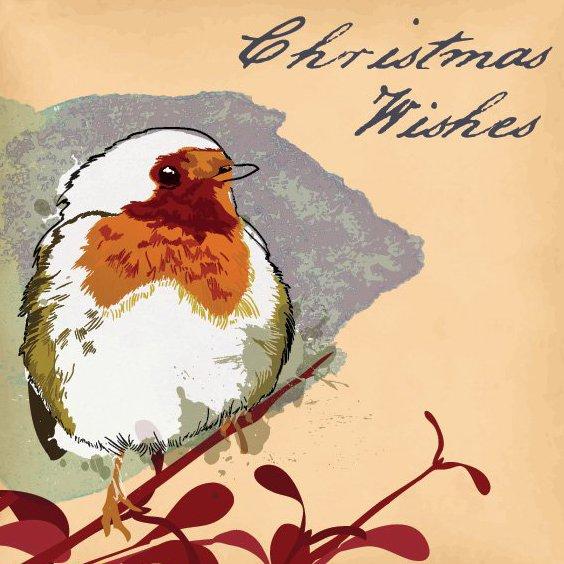 Christmas Robin Card - Free vector #205959