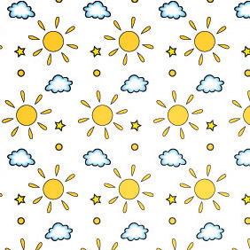 Sun And Cloud Seamless Vector Pattern - Free vector #206159