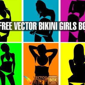 Vector Bikini Girls Pop Art Style Background - Kostenloses vector #206539