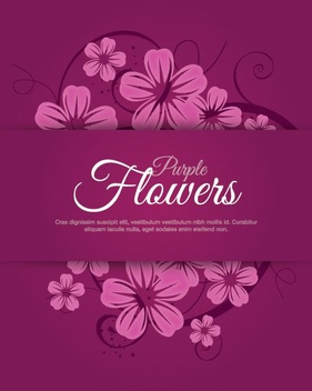 Purple Flowers - vector gratuit #207879