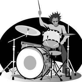 Drummer Vector Image - бесплатный vector #208439