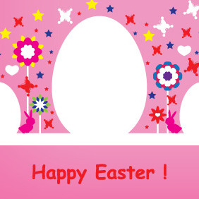 Happy Easter Pink Card Design - Free vector #208539