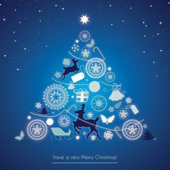 Éléments de l'arbre de Noël - vector gratuit #208569