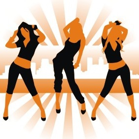 Dancing Girl Silhouettes - Free vector #208599