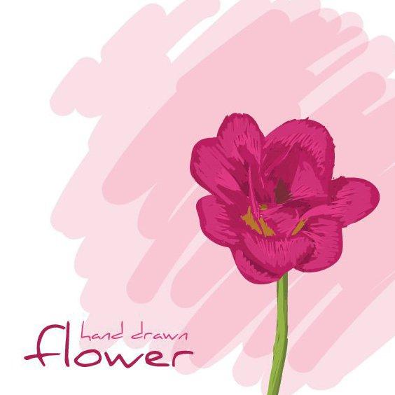 fleur dessiné de la main - vector gratuit #209489