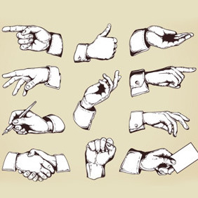 Hand Gestures - Free vector #209799