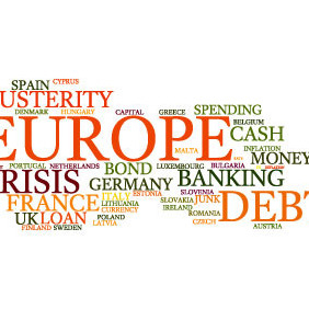 European Debt Crisis Word Cloud Vector Bkg - бесплатный vector #210119