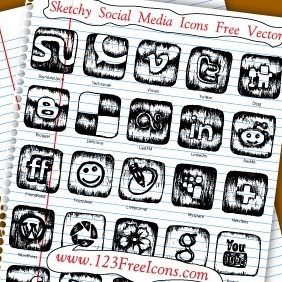 Sketchy Social Media Icons Free Vector - Free vector #210399