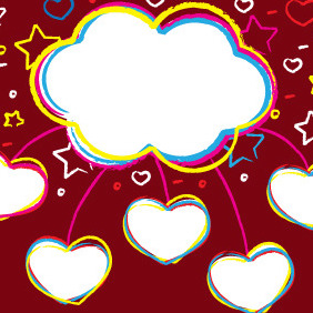 Sweet Valentines Clouds - Free vector #210509
