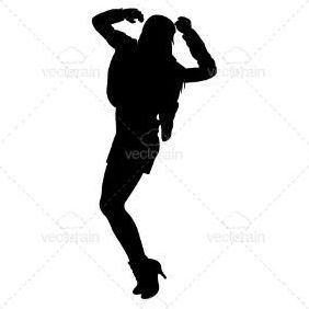 Silhouette Of A Dancing Lady - Free vector #211279
