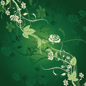 Green Floral Background - Kostenloses vector #211579