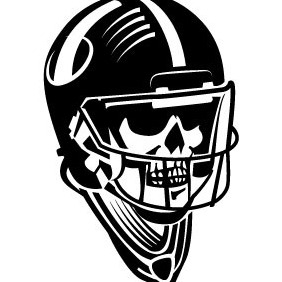 Skull In Football Helmet Vector - Free vector #211589