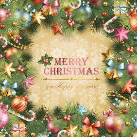 Christmas Vector Card Green - vector #211689 gratis