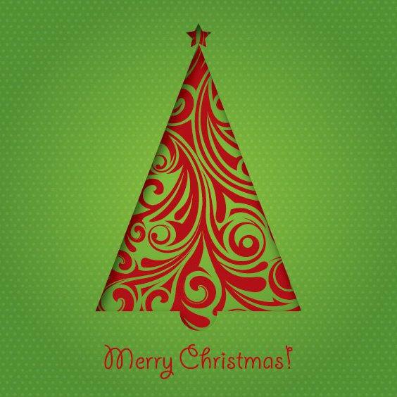 Grün Weihnachtskarte - Kostenloses vector #211759