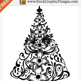 Hand Drawn Christmas Tree Free Vector Illustration - Kostenloses vector #211919